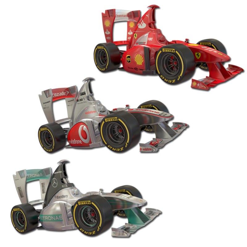 3d cartoon formula 1 model