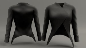 3d model women dressy crop
