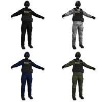 3d model swat soldier scene