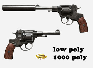 revolver nagant 3d model