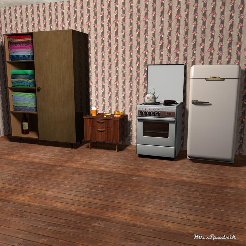 3d furniture stove refrigerator model