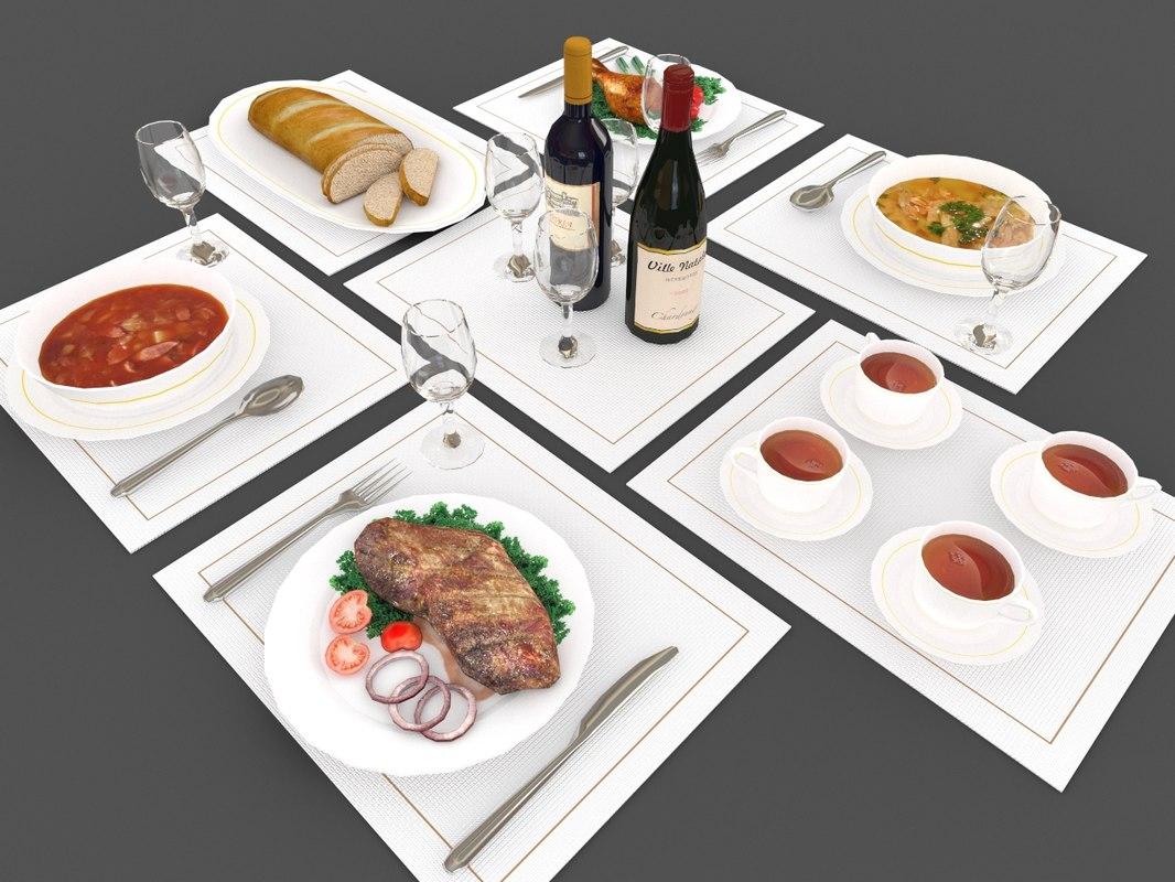 set food drink 3d model