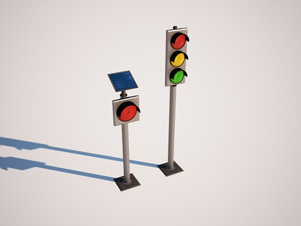 traffic lights solar energy 3d ma