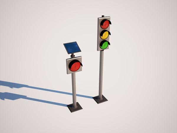 traffic lights solar energy 3d ma