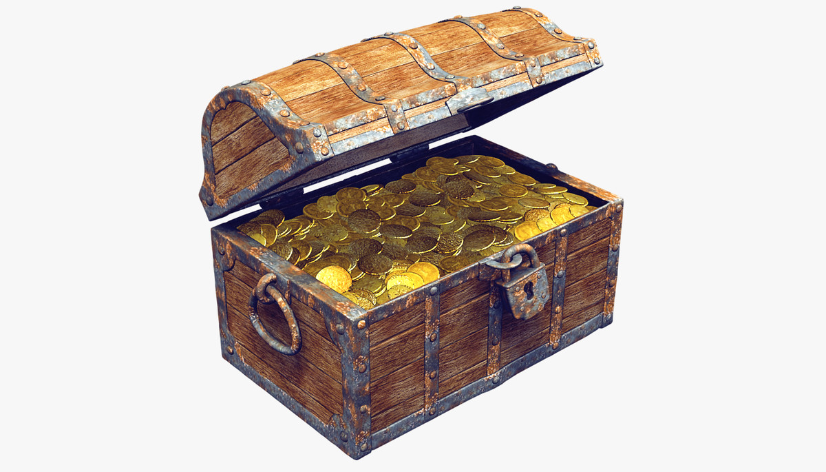 3ds max old wooden treasure chest