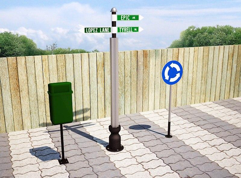 3d model street sign trash