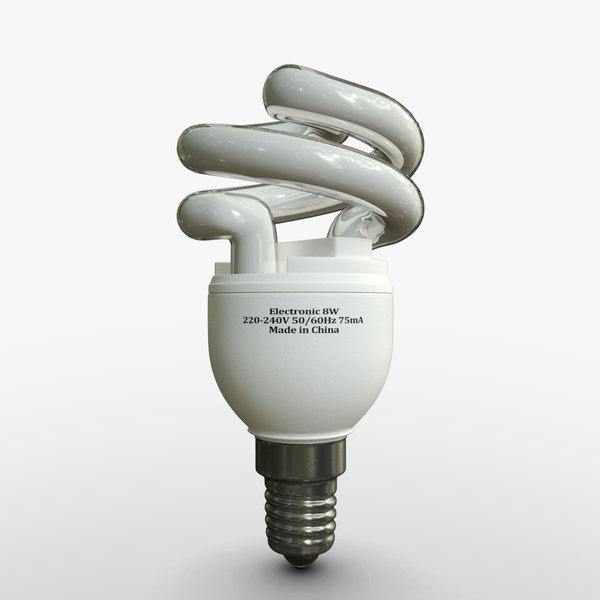 3d model compact light bulb