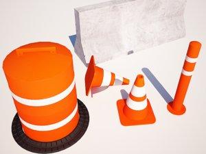 3d street cone blocker model