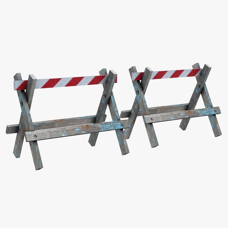 3d model wooden barrier