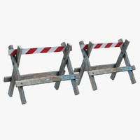 3d model wooden barrier