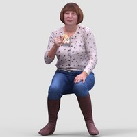 Donna Casual Sitting - 3D Human Model