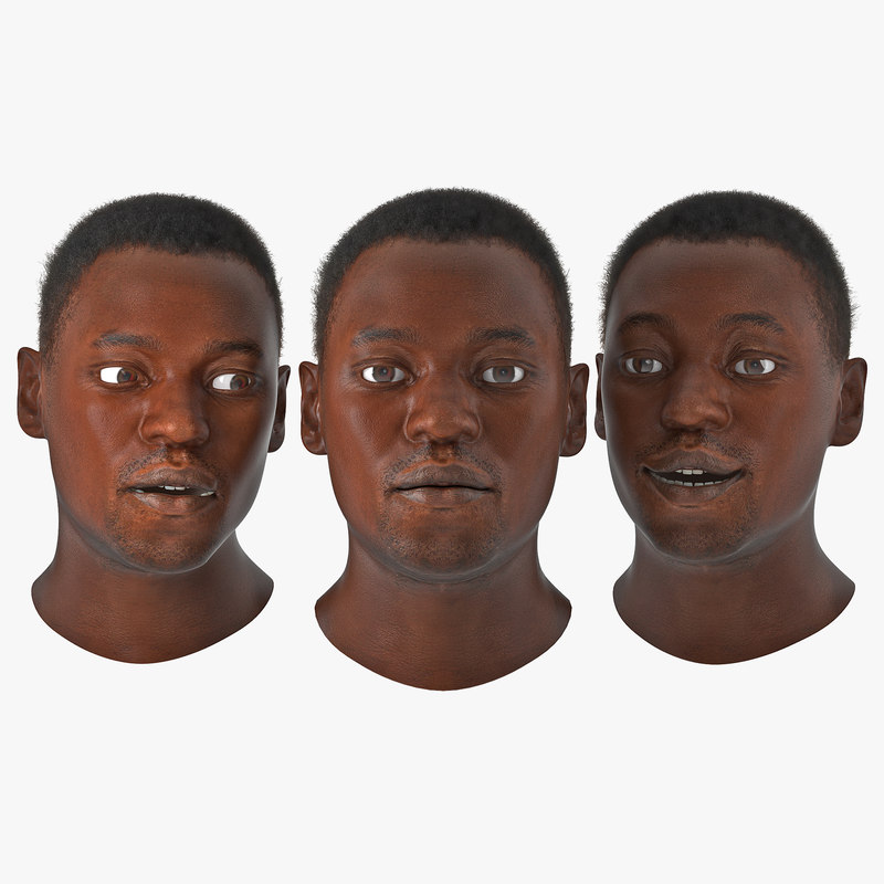 african american male head 3d max