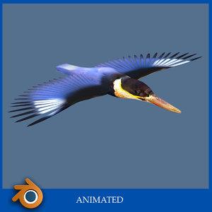 3d model kingfisher bird