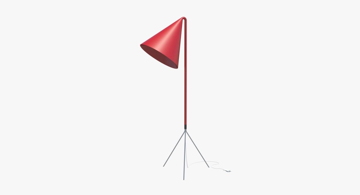 red floor lamp 3d max