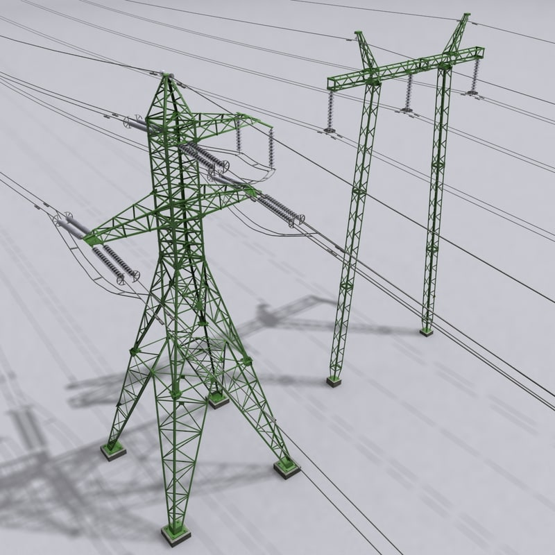 3d model voltage power lines