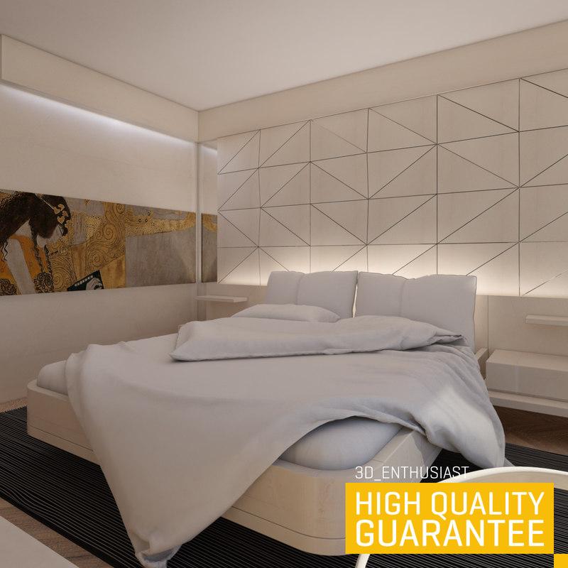 3d model of bedroom rendered