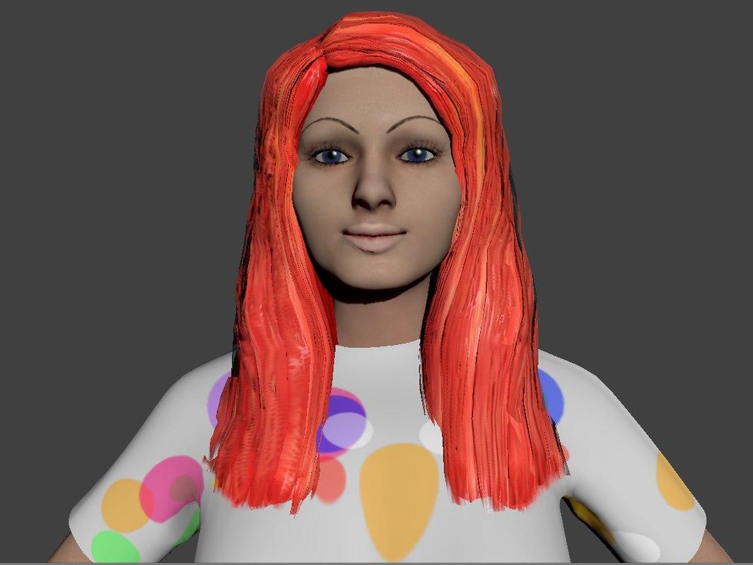free rigged redhead wearing t-shirt 3d model