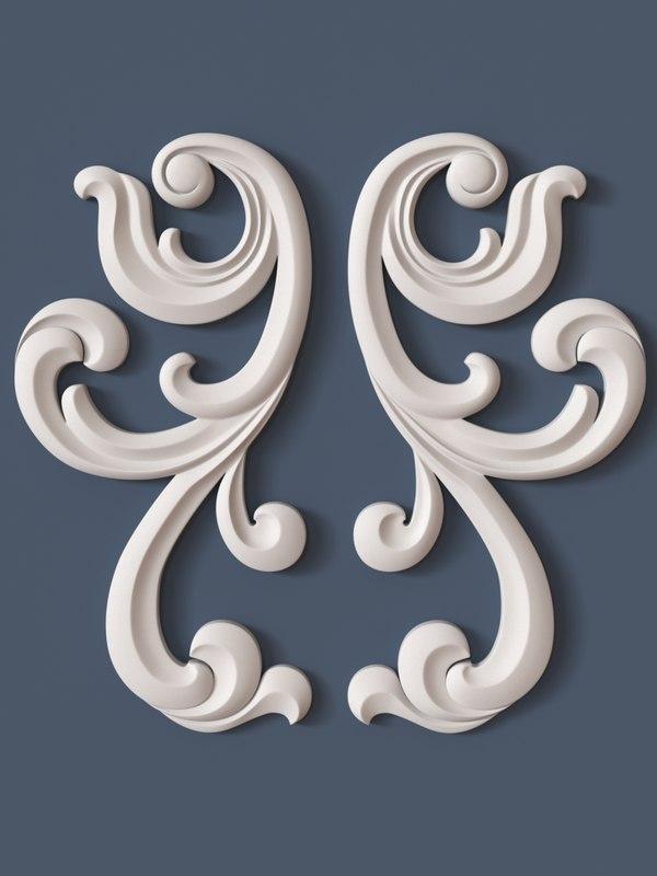 3d model of decorative scroll