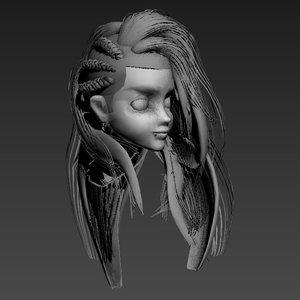 hair animation 3d model