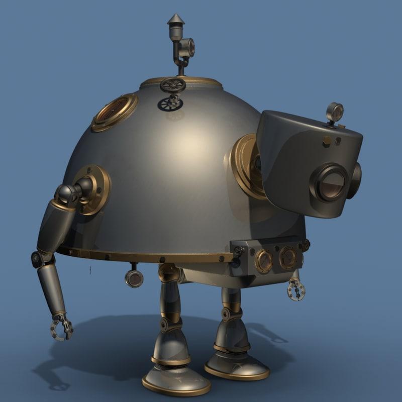 steampunk robot 3d model
