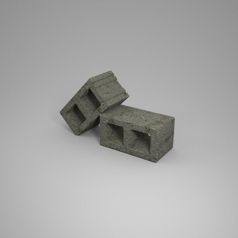 cinder block 3d obj