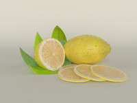 3d realistic lemon fruit model