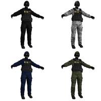 3d swat soldier scene model