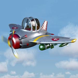 3d model of cartoon fighter plane