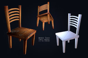 free 3ds model wooden chair -
