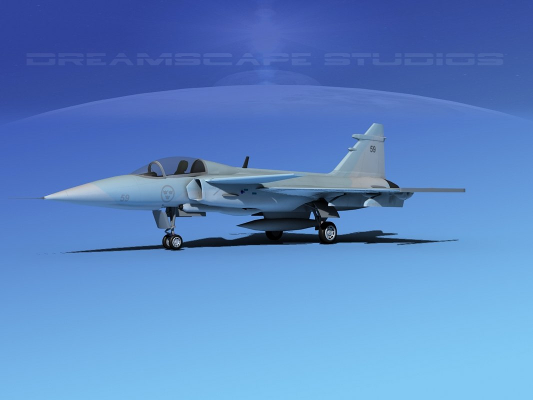 3d cockpit saab jas 39 model