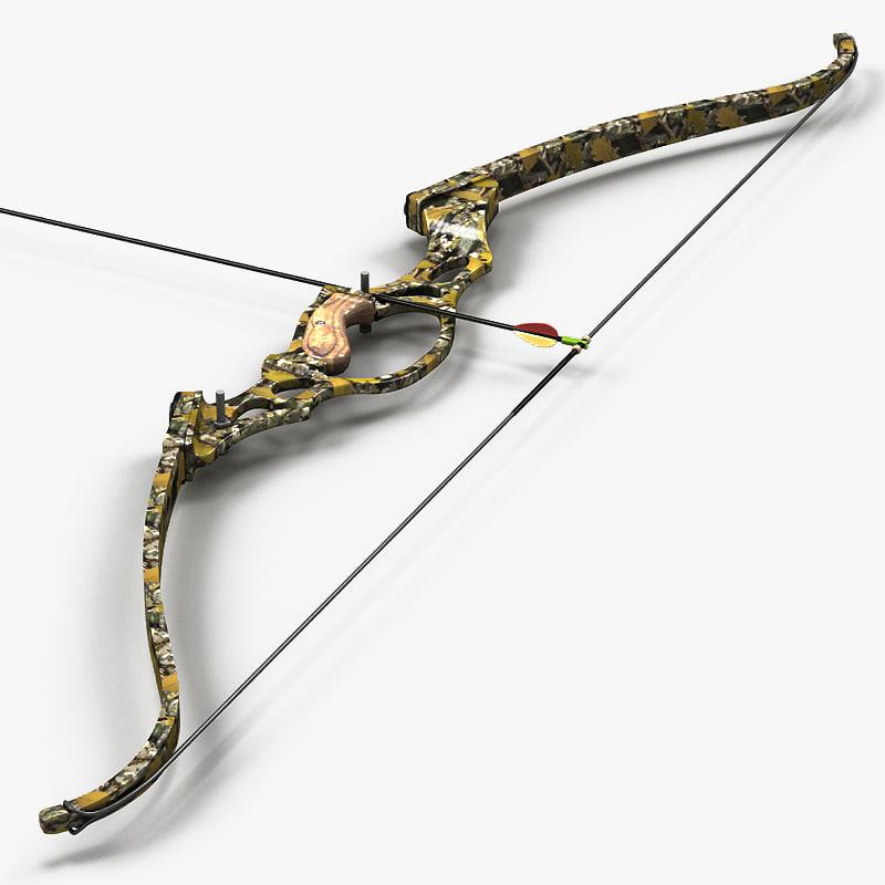 re-curve bow arrow 3d 3ds