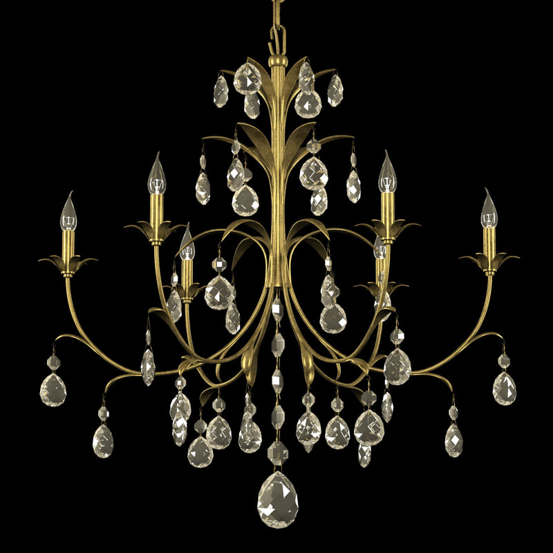 3d chandelier brass metal leaves model