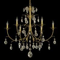 3d chandelier brass metal leaves model