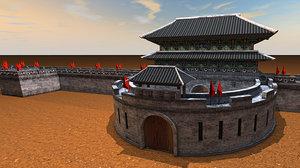 castle wall asia obj
