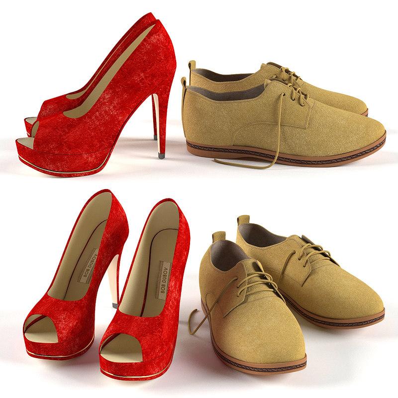 men s women shoes 3d max