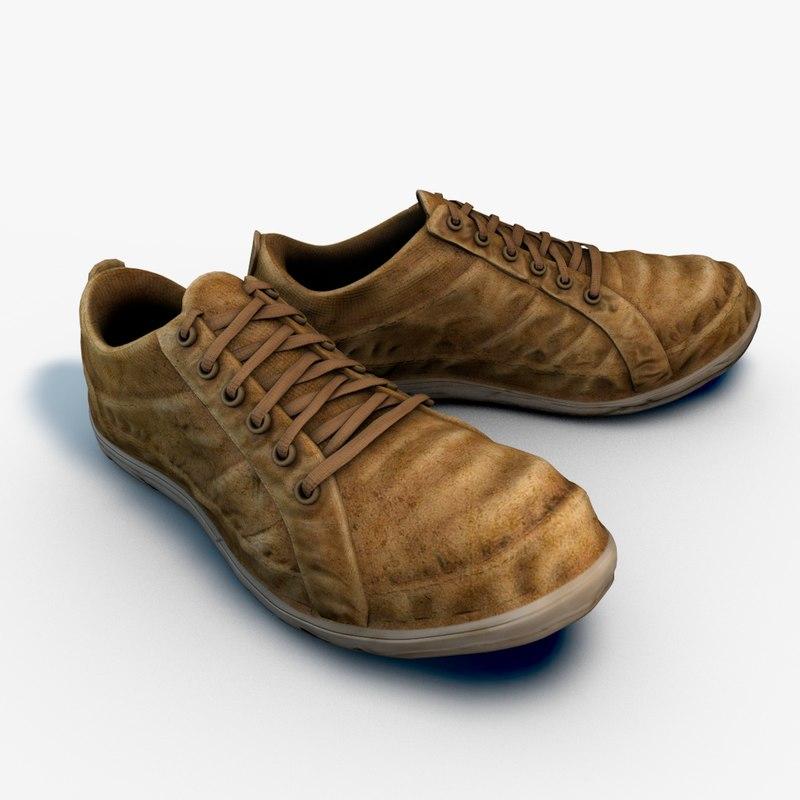 old worn sneakers 3d model