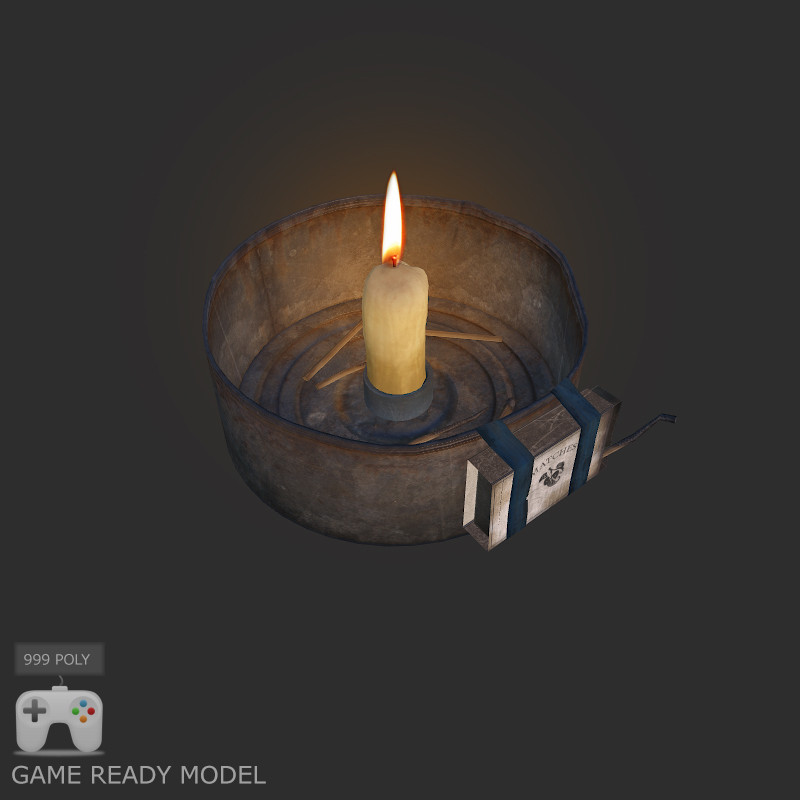 post apocalyptic lamp 3d model