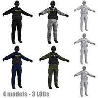 swat soldier scene 3d model