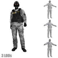 3d rigged swat soldier s model