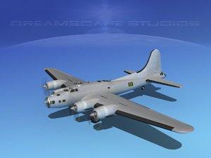 b-17 hp boeing bomber 3d model