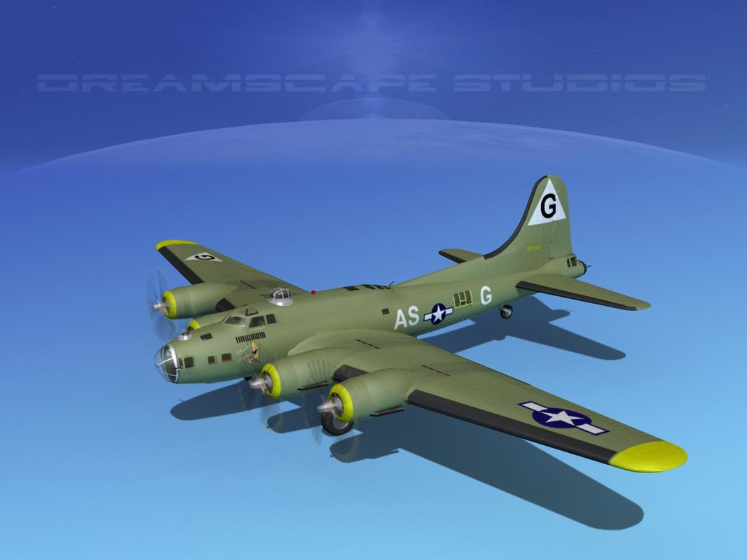 3d b-17 hp boeing flying fortress model