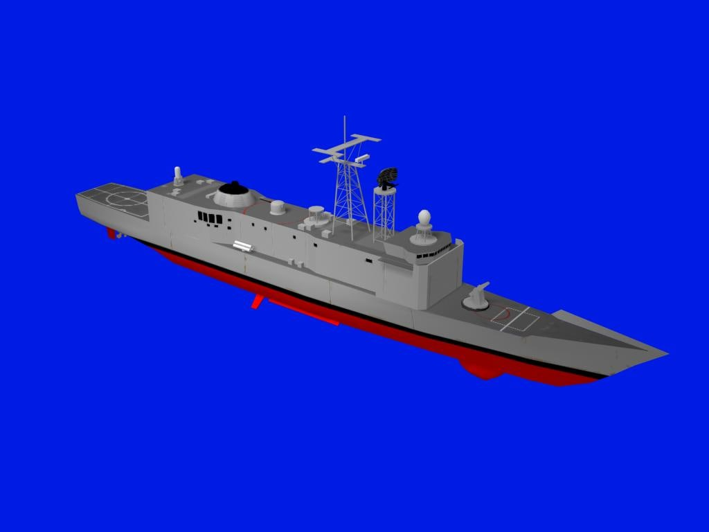 3d model uss oliver hazard perry