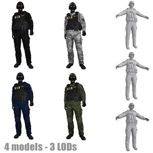 rigged swat soldier s 3d max