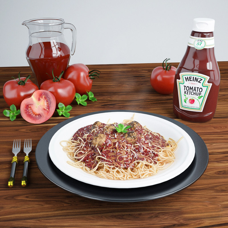 3d model of spaghetti plate scene