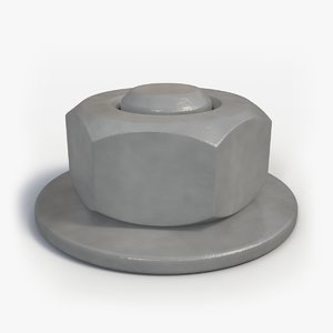free painted hex nut 3d model