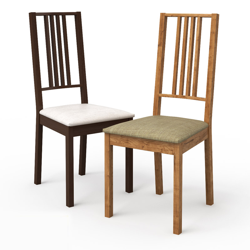 3d model borje dark wood dining chair
