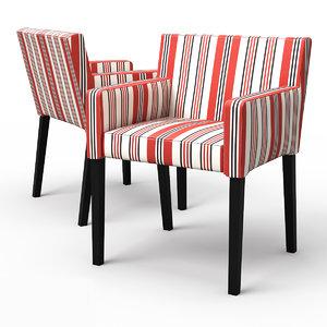3d model nils dining chair armrests