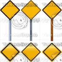 Blank yellow rhombus road signs