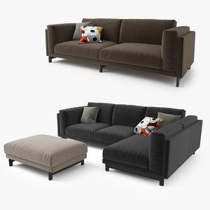 3d model ikea nockeby series sofa