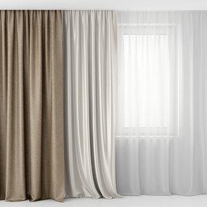 3d model curtain tulle